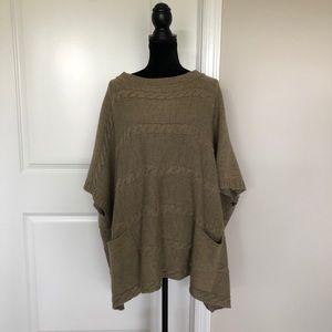 Zara knit tan oversized poncho (M)